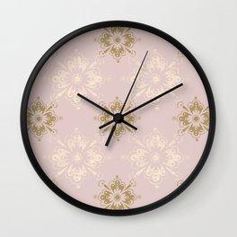 Ornamental Geometric Soft Pink and Metallic Wall Clock