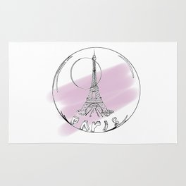 Paris in a hot air balloon on purple background ( https://society6.com/vickonskey/collection ) Rug