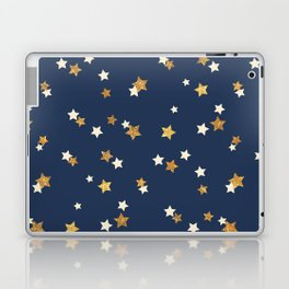Navy blue faux gold glitter elegant starry pattern Laptop & iPad Skin