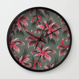 Snake Palms - Light Vintage Coral Wall Clock