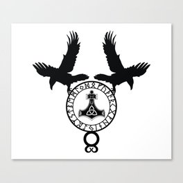 Norse Ravens - Mjolnir Canvas Print