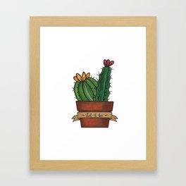 Let it Be Cactus Print in Simple Line Art Style  Framed Art Print