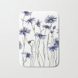 Blue Cornflowers, Illustration Bath Mat
