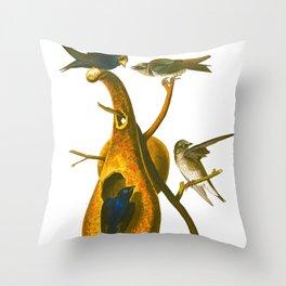 Purple Martin Bird Throw Pillow