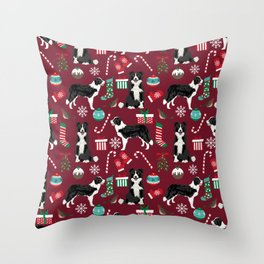 Border Collie christmas stockings presents holiday candy canes dog breed pattern Throw Pillow