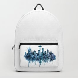 Seattle Skyline monochrome watercolor Backpack