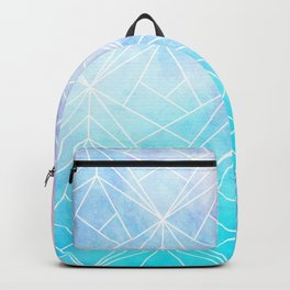 Geometric White Pattern on Watercolor Background Backpack