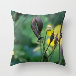 slug dancing on a poppy Throw Pillow
