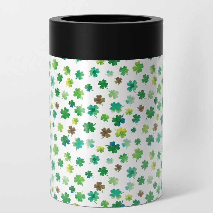 Lucky Watercolor Clovers Can Cooler