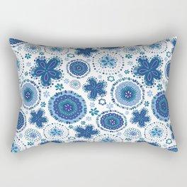 Organic Medallions - Blue Rectangular Pillow