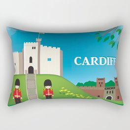 Cardiff, Wales - Skyline Illustration by Loose Petals Rectangular Pillow