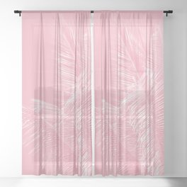 Millennial Pink illumination of Heart White Tropical Palm Hawaii Sheer Curtain