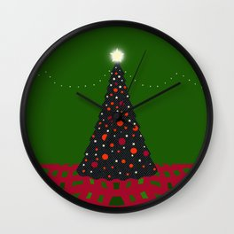 Christmas Tree with Glowing Star Wall Clock