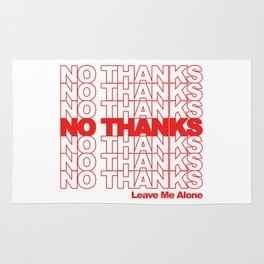NO THANKS // Leave Me Alone (white) Rug