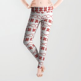 Scandinavian inspired print with red mini stars Leggings
