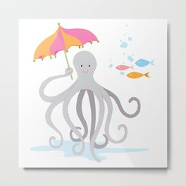 Sweet octopus with a Parasol Metal Print