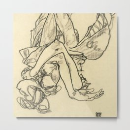 """Egon Schiele """"Woman Lying on her Back with Crossed Arms and Legs"""" Metal Print"""