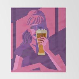 woman drinking beer Throw Blanket