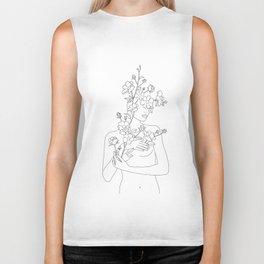 Minimal Line Art Woman with Wild Roses Biker Tank