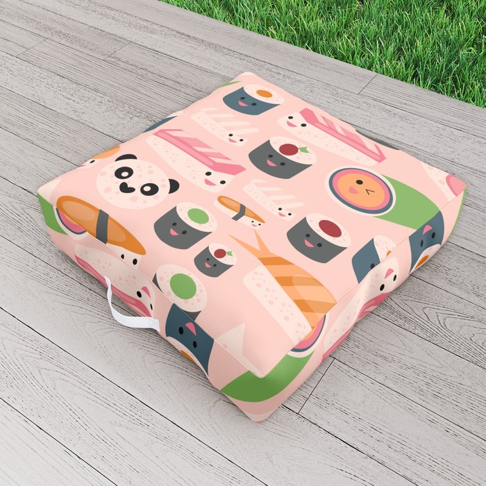Kawaii sushi light pink Outdoor Floor Cushion