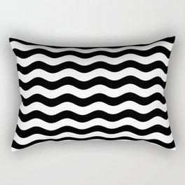 Wavy Stripes (Black/White) Rectangular Pillow