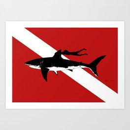 great white shark dive Art Print