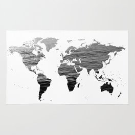World Map - Ocean Texture - Black and White Rug