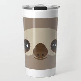 funny and cute smiling Three-toed sloth on brown background Travel Mug