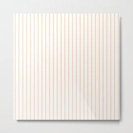 Soft Peach Pinstripe on White Metal Print