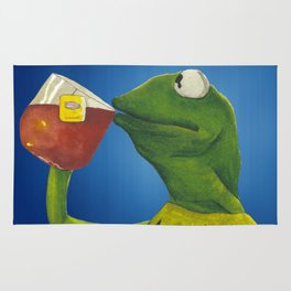 Painted Meme Frog Drinking Tea but it's none of my business Rug