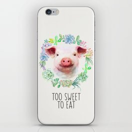 Too Sweet to Eat Vegan Statement Pig Watercolor iPhone Skin