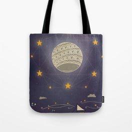 Sailing under the moon Tote Bag