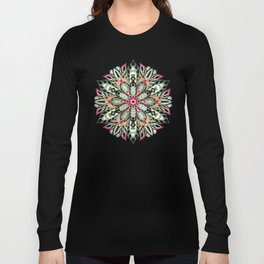 Tribal Geometric brown and green Mandala Long Sleeve T-shirt