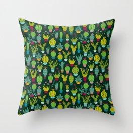 Dark cactus pattern Throw Pillow