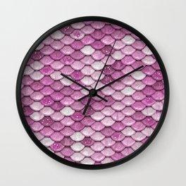 Light Pink Glitter Mermaid Sparkling Scales - Mermaidscales Wall Clock