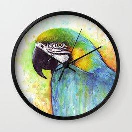 Bird Watercolor Animal Macaw Wall Clock