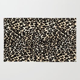 Small Brown and Black Leopard Print Rug