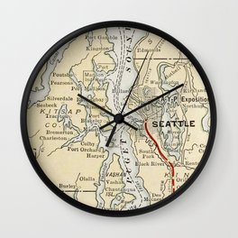 Vintage Map of The Puget Sound (1909) Wall Clock