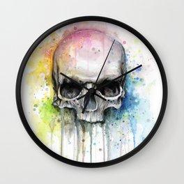 Skull Rainbow Watercolor Painting Skulls Wall Clock