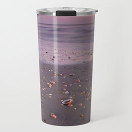The Beach Of The Shells. Purple sunset Travel Mug