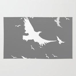 WHITE BIRDS IN FLIGHT GREY ABSTRACT MODERN ART Rug