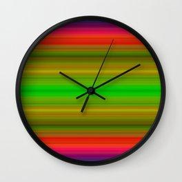 Bright Lined Green Orange Yellow Purple Colors Wall Clock