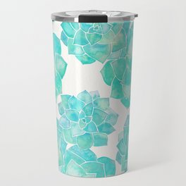 Rosette Succulents – Turquoise Palette Travel Mug