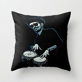 Bongo Beatin' Beatnik (Blue) Throw Pillow