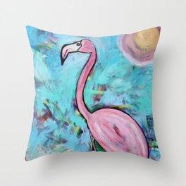 Flamingo at Sunset Throw Pillow