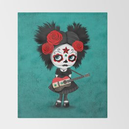 Day of the Dead Girl Playing Syrian Flag Guitar Throw Blanket
