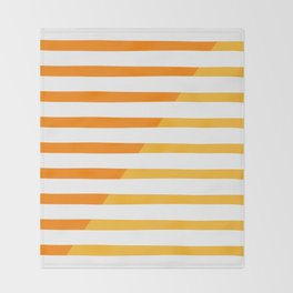 Beach Stripes Orange Yellow Throw Blanket