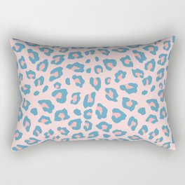 Leopard Print - Peachy Blue Rectangular Pillow