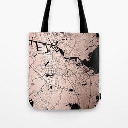 Amsterdam Rosegold on Black Street Map Tote Bag