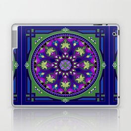 Boho Floral Crest Blue and Purple Laptop & iPad Skin